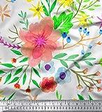 Soimoi Weiß Georgette Viskose Stoff Blätter & Oleander