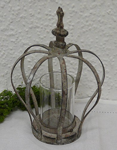 Nostalgie Glas Windlicht Krone antik grau inkl. Glaseinsatz 13,5 x 18,5 cm