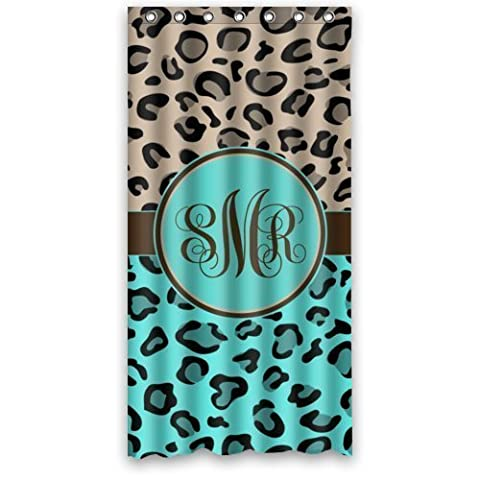 Tiffany blue and Beige cheetah monogram pattern Polyester Fabric Waterproof Shower Curtains 36
