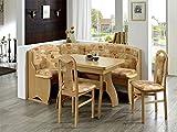 Furntastic Eckbankgruppe Tivoli Buche Natur Dekor 170x130 cm mit Winkelwangentisch Bestehend aus: Truheneckbank, Tisch u 2 Stühle