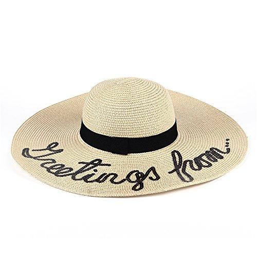 baf0a06db7fb2 Hotaru Summer Women Beach Floppy Hat Beige Adjustable Wide Brim Letter Straw  Sun hat