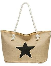CASPAR TS1026 Sac de plage XL en toile de jute pour femme - Sac shopping stylé en fibres naturelles avec imprimé étoile