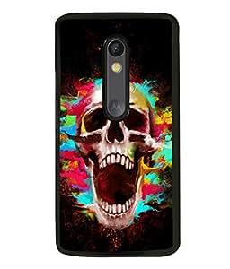printtech Skull Shout Pattern Back Case Cover for Motorola Moto G Turbo Edition