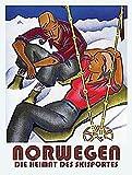 Norwegen Norvège ski vacances neige Relaxant Chill Out. Ancien Rétro, années 1930, Art Deco. Idéal pour cuisine, salon, bureau, agents de voyage, pub et restarant Panneau mural en métal/acier, Acier, 9 x 6.5 cm (Magnet)