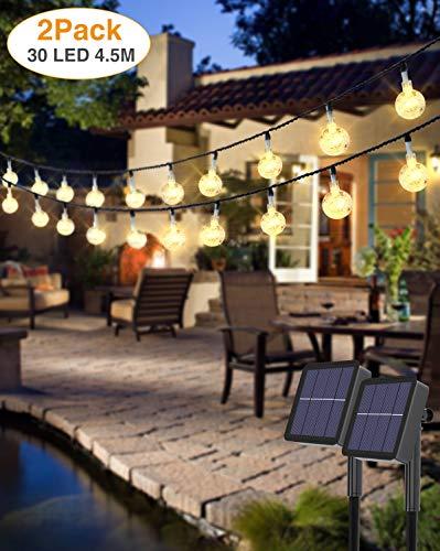 [2 Stück] LED Lichterkette Außen, kolpop Solar Lichterkette Aussen 4.5M 30 LED Kristallkugeln Lichterkette Wasserdicht Balkon Lichterkette 8 Modus Solarlichterkette Deko für Garten/Terrasse/Hochzeit