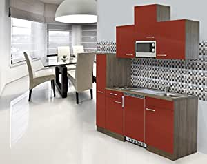 Respekta installation mini cuisine single bloc de cuisine 180 cm imitation chêne york rouge