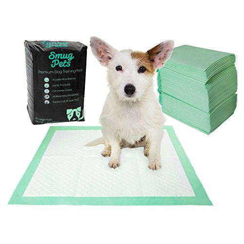 SmugPets - 50 tappetini igienici premium per addestramento cane Tappetini super assorbenti a 6 strati con feromoni attraenti e imbottitura centrale bloccante per asciugatura veloce ed eliminazione degli odori. Previeni fuoriuscite e perdite
