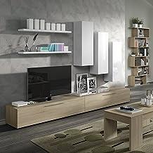 Habitdesign 016644F - Mueble comedor salón TV, color Blanco Brillo y Roble Canadian, medidas: 32 x 260 x 42,1 cm de fondo