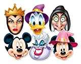Disney Masks Party Pk6 -scary - Mickey Vampire, Minnie Witch, Donald Wizard, Ursula, Wicked Queen & Wicked Witch