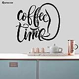zqyjhkou Hora del café Cocina Moderna Cita Habitación Pegatinas de Pared Arte Decoración para el Hogar Vinilo Calcomanías Extraíbles DIY Cafe Ventana Avión Mural K11 L 57x50cm