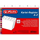 Herlitz 1500560 Intercalaires index alphabétique A5 en plastique pour boîte à fiches (Blanc) (Import Allemagne)