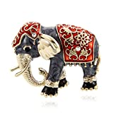 SODIAL Schoene Bekleidungszubehoer Strass Brosche Emaille Brosche Modeschmuck Elefant Tierform rot