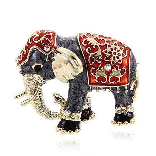TOOGOO Schoene Bekleidungszubehoer Strass Brosche Emaille Brosche Modeschmuck Elefant Tierform rot