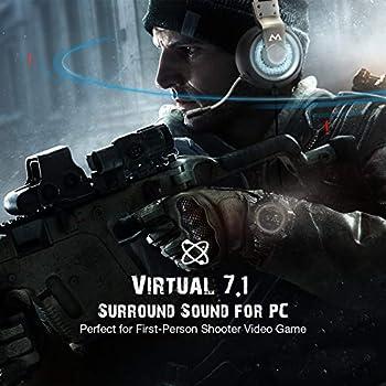 Mpow - Cuffie da gioco Virtual 7.1 Surround Sound Gaming m Silver