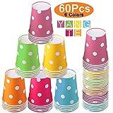 Vasos de Papel Desechables Tazas de fiesta,60 Piezas Vasos Carton de Colores...