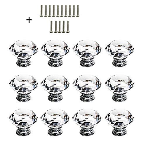Pomo de Cristal - 12 Piezas 30 mm Tiradores Cajones Puerta Mueble Cocina Pomos de Cristal con Tornillo para Casa Oficina Pecho Gabinete Cajón Muebles