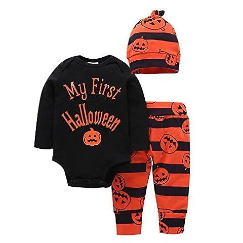 Born Baby Halloween Outfits für Baby Jungen Mädchen Kürbis lange Ärmel Spielanzug + Hose + Hut 3Pcs Stoff Set 0-24 (Baby-kürbis-kostüm Uk)