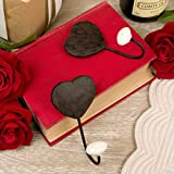 Set of 2 Heart Wall Hooks with Ceramic Ends 10cm