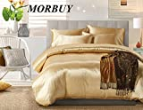 Morbuy Bettbezug Set, Pure Color Generic Satin Luxus Seide Bettdecke Bettbezug Set Bettwäsche Sets 2tlg. Bettwäsche 135 x 200cm 100% Polyester Mikrofaser Stil Gemütlich Bettbezug-Set (Single, Kamel)