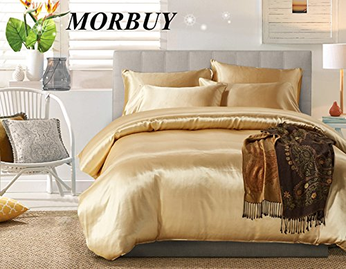 Bettbezug Set, Morbuy Pure Color Generic Satin Luxus Seide Bettdecke Bettbezug Set Bettwäsche Sets 3 tlg. Bettwäsche 200 x 200cm 100% Polyester Mikrofaser Stil Gemütlich Bettbezug-Set(Double, Kamel) (Sets Full-bettdecken)