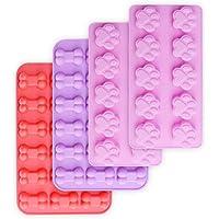 HomEdge Moldes de silicona antiadherente para huellas y huesos para chocolate, dulces, gelatina,