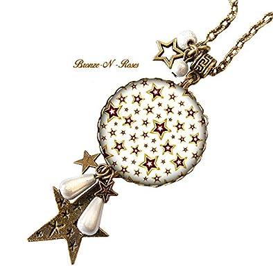 Sautoir collier * Stars * cabochon étoiles blanches bronze beige verre