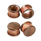 Crdifu 2 Paar Ohr Plug Flesh Tunnel Set aus Holz Double Flared Ohr Expander Piercing Schmuck(8-20mm)