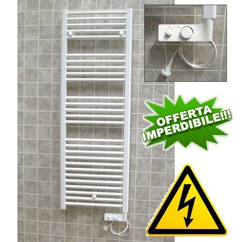 Elektro-badheizkörper (Badheizkörper CORTINA Elektro weiß cm 137x 48mit Thermostat-Widerstand 750W)