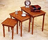 #4: JS Home Decor Solid Sheesham Wood Nesting Tables For Living Room | Oak Finish | Set of 3 Stools