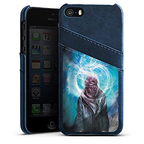 Apple iPhone 5s Housse Étui Protection Coque Étui en cuir bleu marine