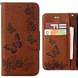 Ougger Hülle für Huawei P20 Lite Handyhüllen, Tasche Leder Schutzhülle Schale Weich TPU Silikon Magnetisch-Stehen Flip Cover Tasche P20 Lite mit Kartensteckplätzen, Schmetterling Streifen (Braun)