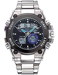 1a60bc8ecac2 Reloj Deportivo De Los Hombres Pantalla Luminosa Gran Cara Electrónica  Doble Pantalla Cinturón De Acero Reloj
