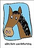 Lustige Geburtstagskarte für Mädchen/Reiterinen mit Pferd • auch zum direkt Versenden mit ihrem persönlichen Text als Einleger.