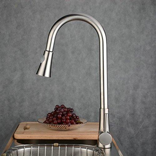 Preisvergleich Produktbild PLYY Edelstahl Küchenarmatur - Einhebel / Griff Ein Loch gebürstet Nickel Wasserhahn - Moderne Küchenspüle Mischbatterie Mizzo Design