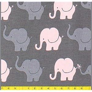 Stoffe zum Nähen, Jerseystoffe, Jersey, Mädchenstoffe, Stoffpaket, Elefanten rosa grau, Mädchen