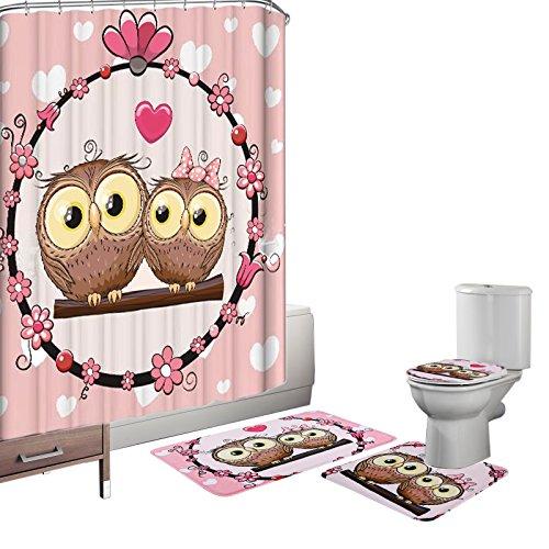 Bearbae 16pezzi set di copertura copri-water set tenda da doccia e bagno antiscivolo lovely owl piedistallo tappeto + coperchio wc cover + tappetino da bagno rosa con 12ganci