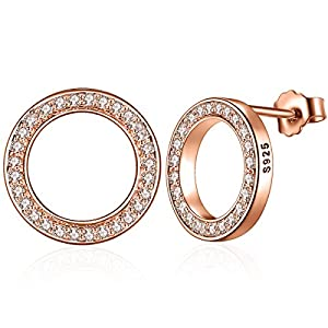 Presenski Rose Gold Ohrstecker Damen, Kleine Ohrstecker Kreis Ohrringe Silber 925 Zirkonia Ohrstecker für Mädchen