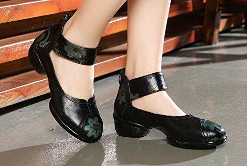 SHIXR Les Femmes Ethniques Dansent Chaussures Sneakers En Cuir Bas Chaussures De Fitness Jazz Chaussures De Danse Square Soft noir