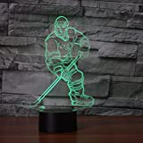 3d eishockey spieler nachtlicht illusion lampe 7 farbe ändern führte an usb - tabelle geschenk kinder spielzeug dekor und weihnachten zum valentinstag geschenk