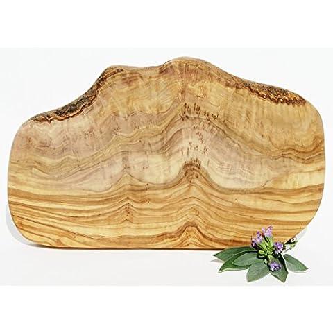 Tabla de madera de olivo orgánico bandeja de servir - tabla de madera - tabla de cortar Madera de olivo con veteado fino Longitud de 30 a 33 cm y anchura de 17 a 20