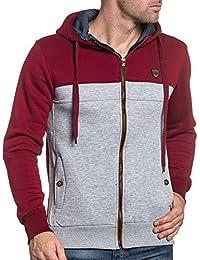 BLZ jeans - Sweat homme zippé rouge et gris à capuche fashion