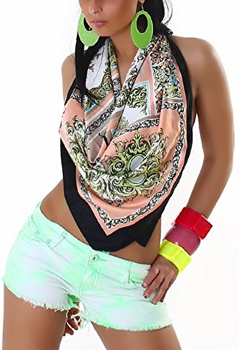 Realty Jeans Damen Batik Neon Hot-Pants Light Green