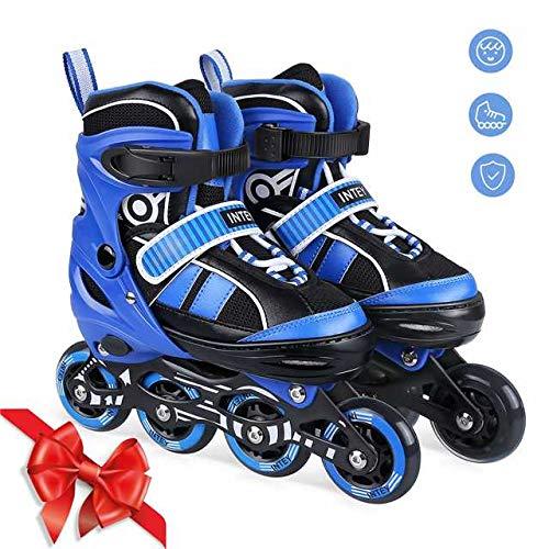 INTEY Inline Skates für Kinder, verstellbare Inline Skating geeignet für Alles Kinder, 3 Größe, Blau (M) - 5 Skates Kinder Größe Roller Für