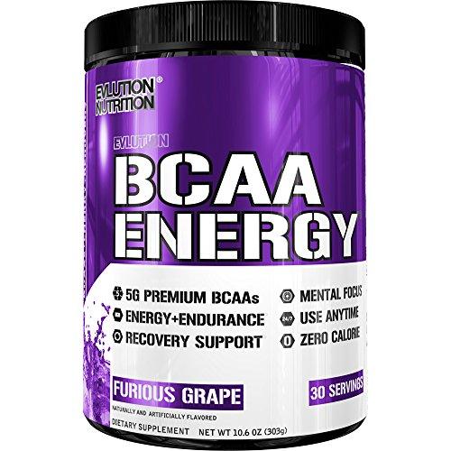 Evlution Nutrition BCAA Energy   Leistungsstarke Energiespendende Aminosäuren Für Muskelaufbau, Erholung Und Ausdauer (Furious Grape, 30 Portionen) -