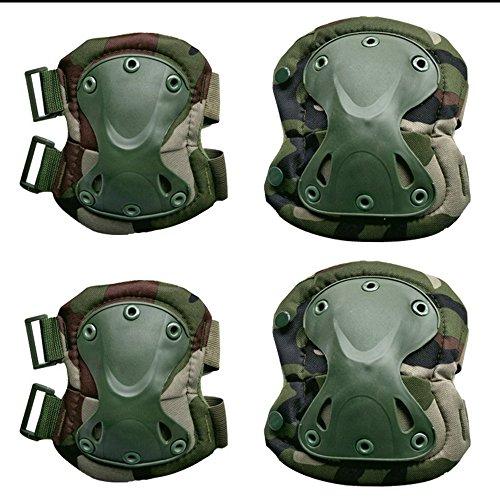owikar Military Tactical Knie & Ellbogenschützer Set 4in 1stoßresistent Jagd Paintball Shooting Schutz Camouflage Knieschoner Unterstützung für Outdoor CS und extreme sports, Dschungel-Camouflage (Crepe-kleid Festes)