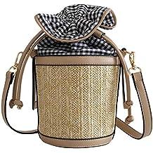 Luckycat Nueva moda mujeres verano doble ganchillo tejido bolsa de paja paquete Lady playa shoulderbags Bolsos