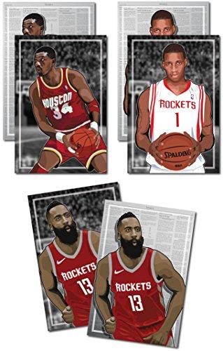 Oakley Graphics 3Poster der Houston Rockets-James Harden, Hakeem Belo Olajuwon, Tracy McGrady Art Prints-Kaufen 1Get 2Gratis, 3Total Drucke (beidseitigen) Medium Set - 12