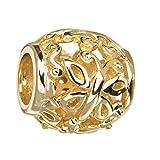 MATERIA Gold Beads Schmetterlinge Element - 925 Silber Beads Gold 14K vergoldet für Beads Armband #1591