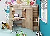 Hochbett/Etagenbett/Entresole – alle in einer rechts Ablesen Treppen – Kinder Möbel Set. Bett, Kleiderschrank, Regal, Schreibtisch Sonoma Oak.