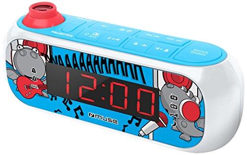 Muse M-167 KDB Kinder-Wecker mit digitalem UKW Radio und Sternen-Projektion (2 Weckzeiten, Display mit Dimmer, Aux-in) Blau/Weiß mit Lustigen Comic-Motiven